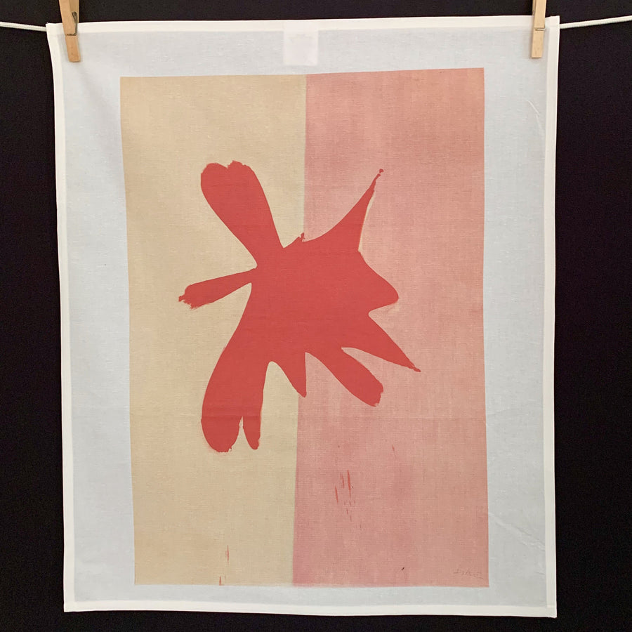 Cotton Tea Towel with abstract design by Jack Bush that looks like a big red moose head