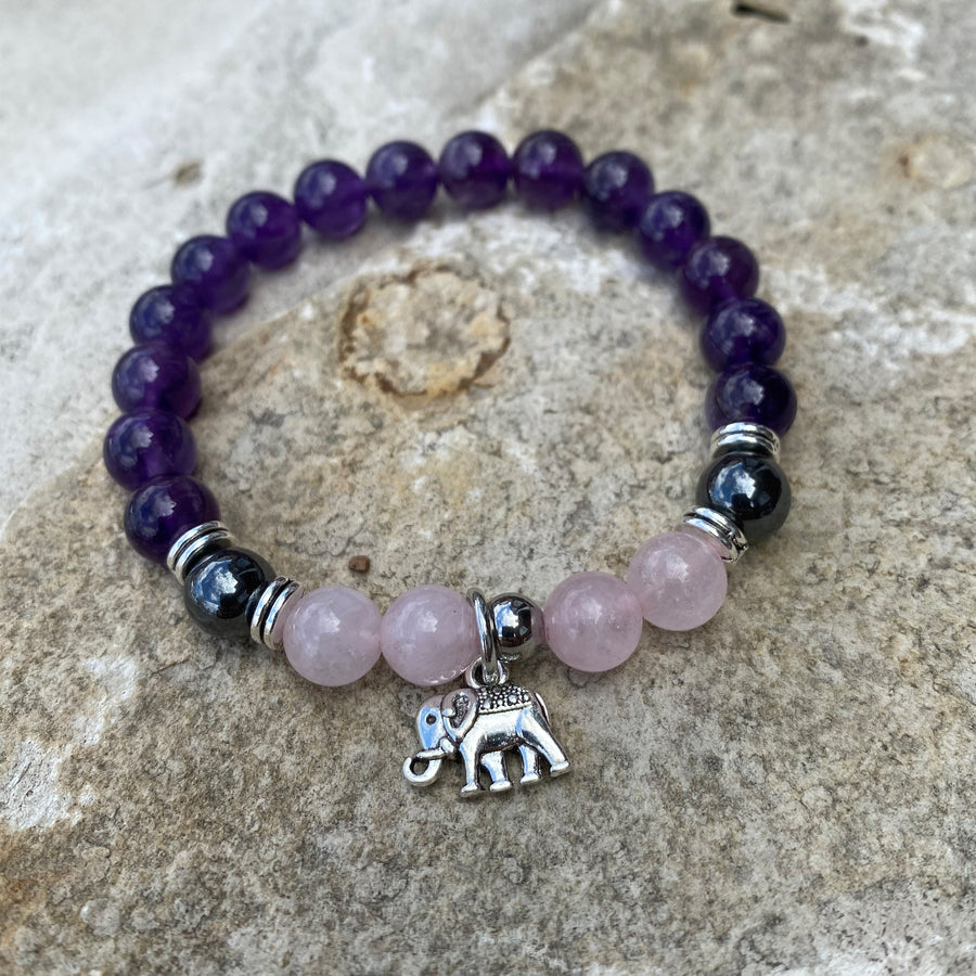Amethyst, Rose Quartz and Onyx gemstone bracelet with elephant charm