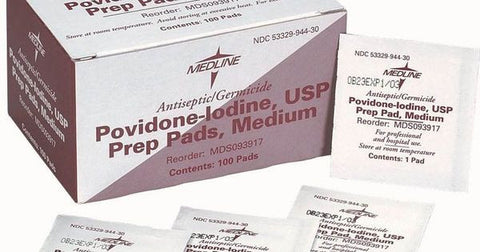 povidone-iodine USP prep pads medium mds093917 Medline - Adventura Sickroom Supply