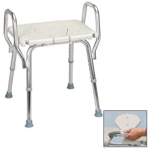 Bath Bench | Heavy Duty w/o Back | w/ Arms and Cut-Out | 62321 Eagle/Empire - Adventura Sickroom Supply