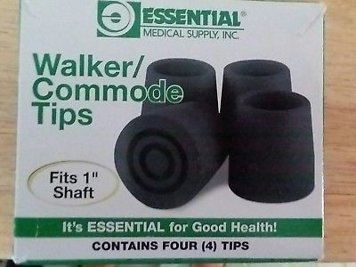 walker/commode tips 1 1/8 shaft bx/4 Essential - Adventura Sickroom Supply