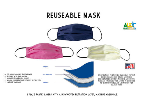 Cloth Face Mask - Three Ply Face Mask,washable,facemask - Adventura Sickroom Supply