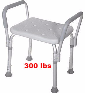 bath bench w/gray arms without back Essential white b3012 - Adventura Sickroom Supply