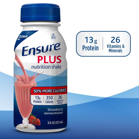 Ensure Pluss nutritional shake Vanilla, Chocolate or Strawberry 8oz. cs/24 - Adventura Sickroom Supply