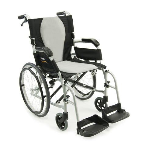 Wheelchair 18' ErgoFlight Quick Release w/hand brakes 20'wheels Karma s-2512Q18ss - Adventura Sickroom Supply