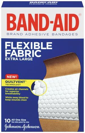 "Band Aid Extra Large Flexible Fabric 1 3/4 x 4"" Bx/10 - Adventura Sickroom Supply"