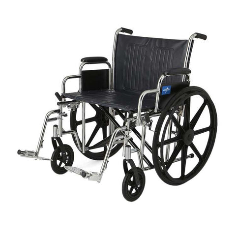 "Wheelchair X-Wide 22""x 18"" Medline With Removable Desk-Length Arms and Swing-Away Footrests"