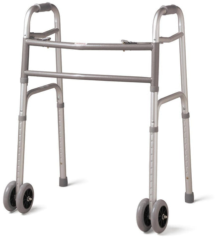 "Walker heavy duty folding w/double 5"" front wheels - Walkers - Adventura Sickroom Supply"