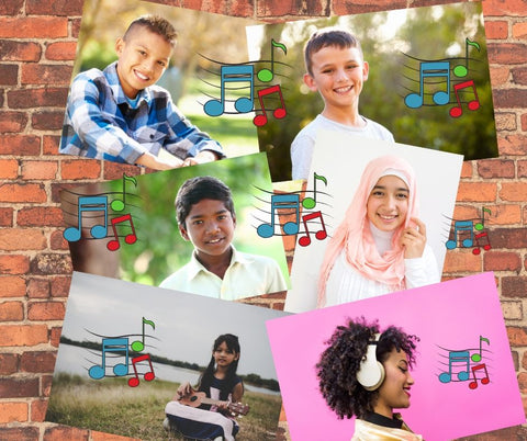 6 different ethnic kids with music notes