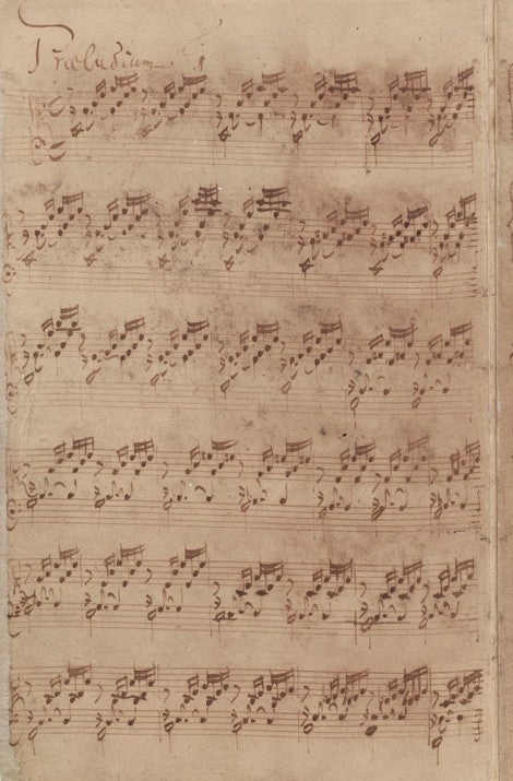 Prelude in C Major by Bach with his autograph