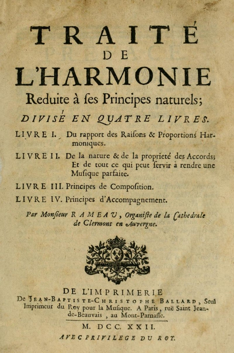 Cover of Traite book by Jean Philippe Rameau