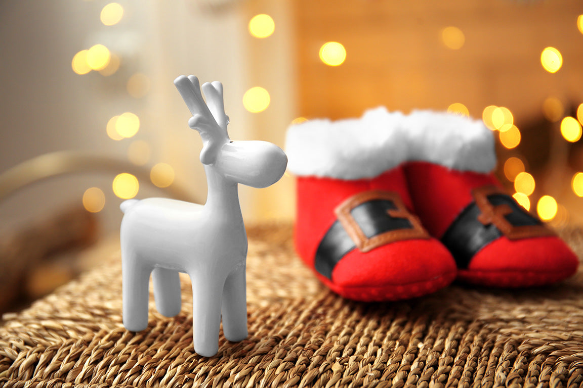 Mini reindeer, baby santa shoes