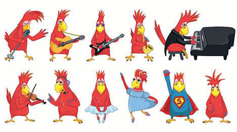 Cartoon birds playing Rock & Roll