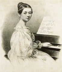 Young composer Clara Schumann at a piano