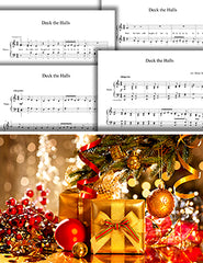 Deck the Halls: 1st piano pages of multi-levels