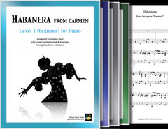 Habanera from Carmen: 1st piano pages of multi-levels
