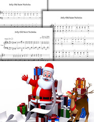 Jolly Old Saint Nicholas: 1st piano pages of multi-levels