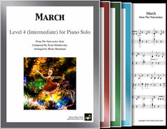 March from The Nutcracker: 1st piano pages of multi-levels
