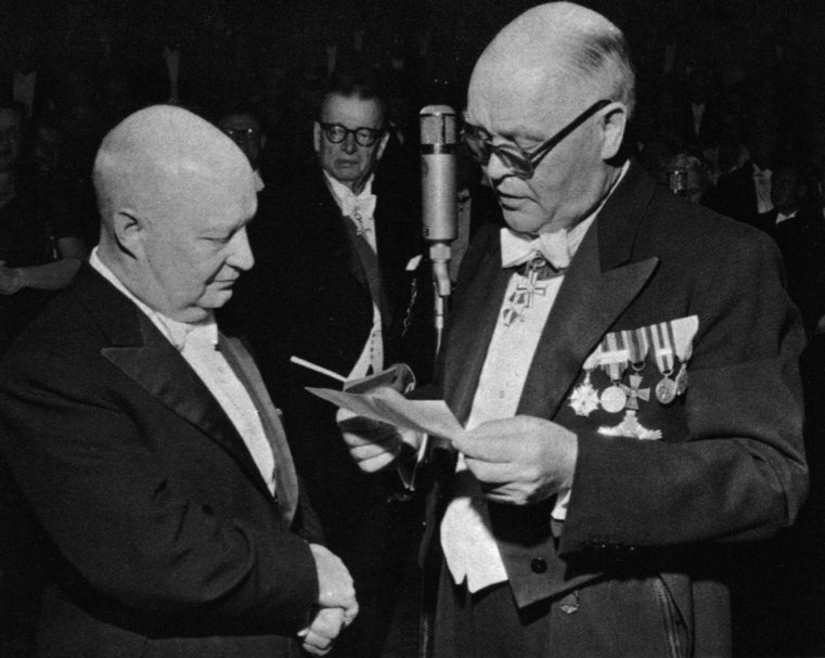 Hindemith (left) received the Wihuri Sibelius Prize in 1955