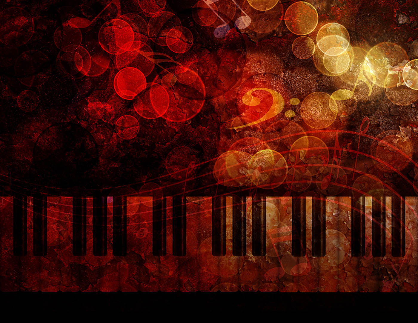 Piano with red bubble background