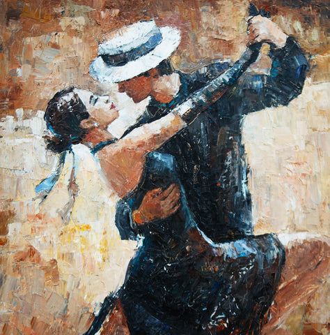 Painting of man & woman dancing Tango