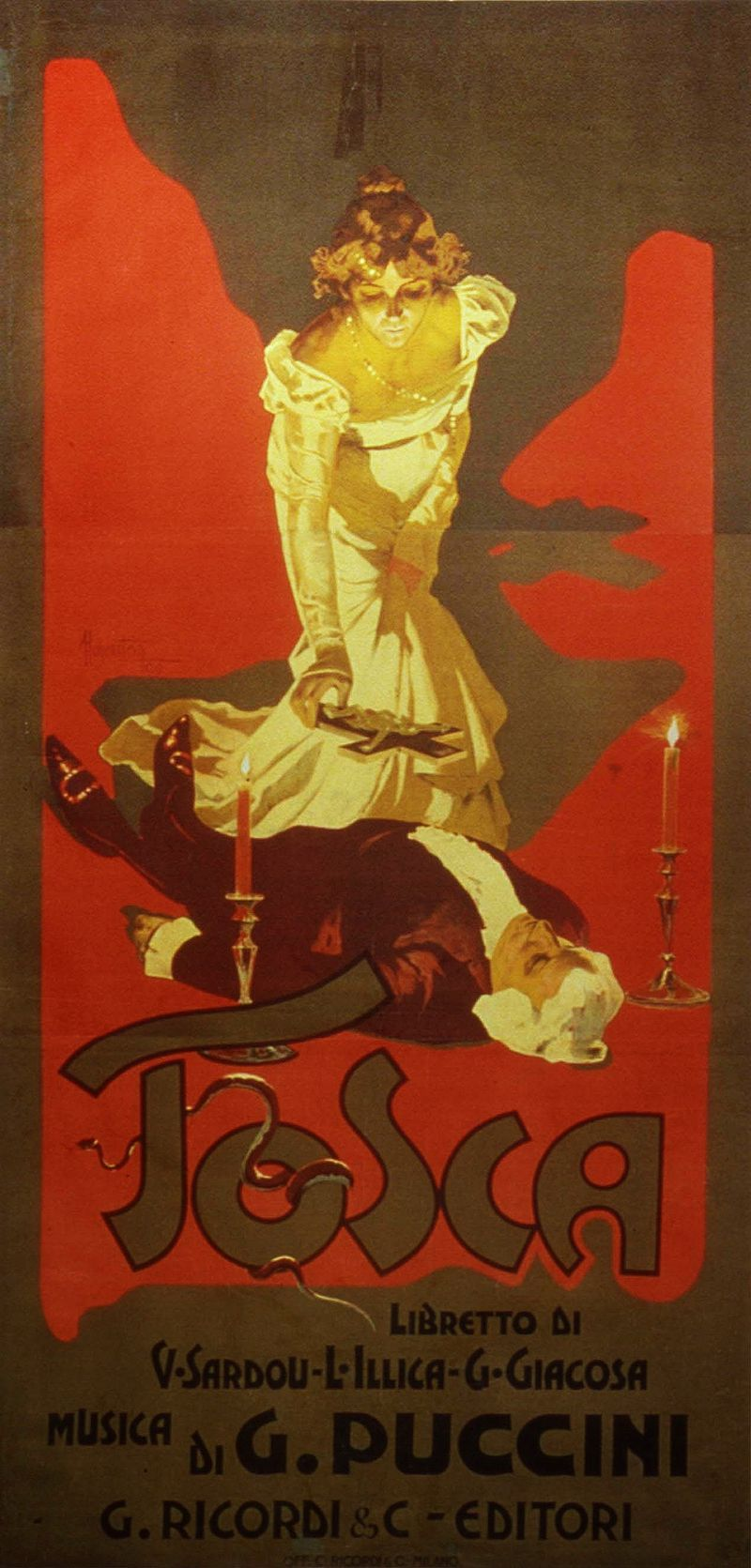 """Opera, """"Tosca"""" poster in 1900"""