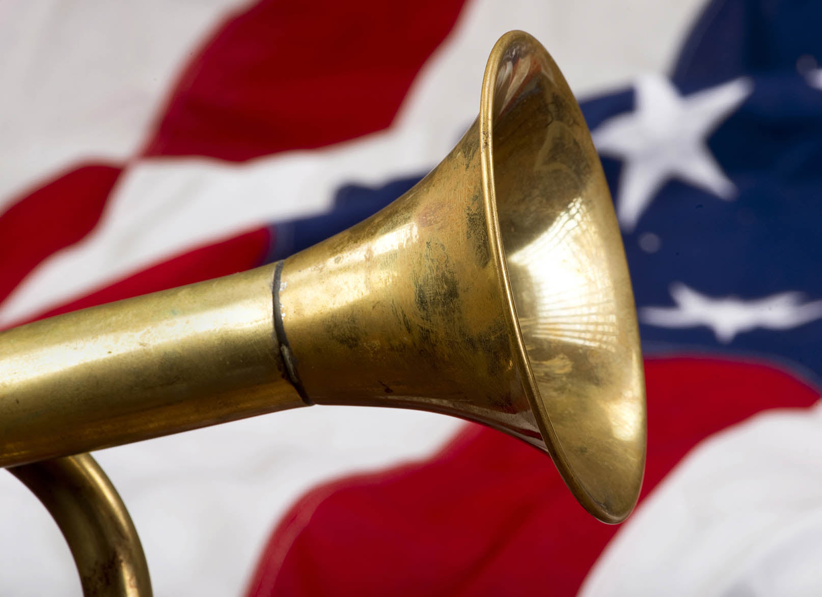 Trumpet and U.S.A. flag