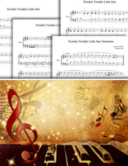 Twinkle Twinkle Little Star: 1st piano pages of multi-levels
