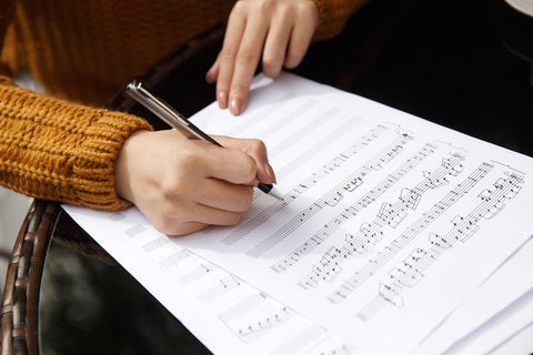 Writing music on paper