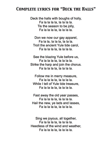 Deck the Halls - Lyrics page