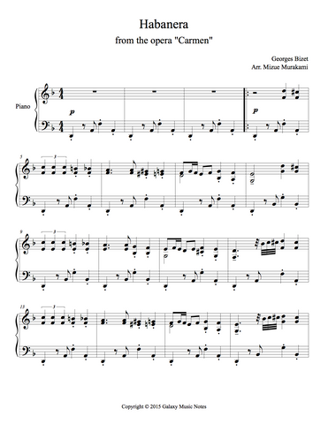 Habanera Level 5 - 1st piano music sheet