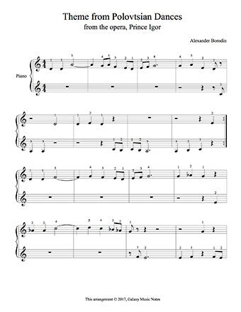 Theme from Polovtsian Dances Level 1 - 1st piano music sheet