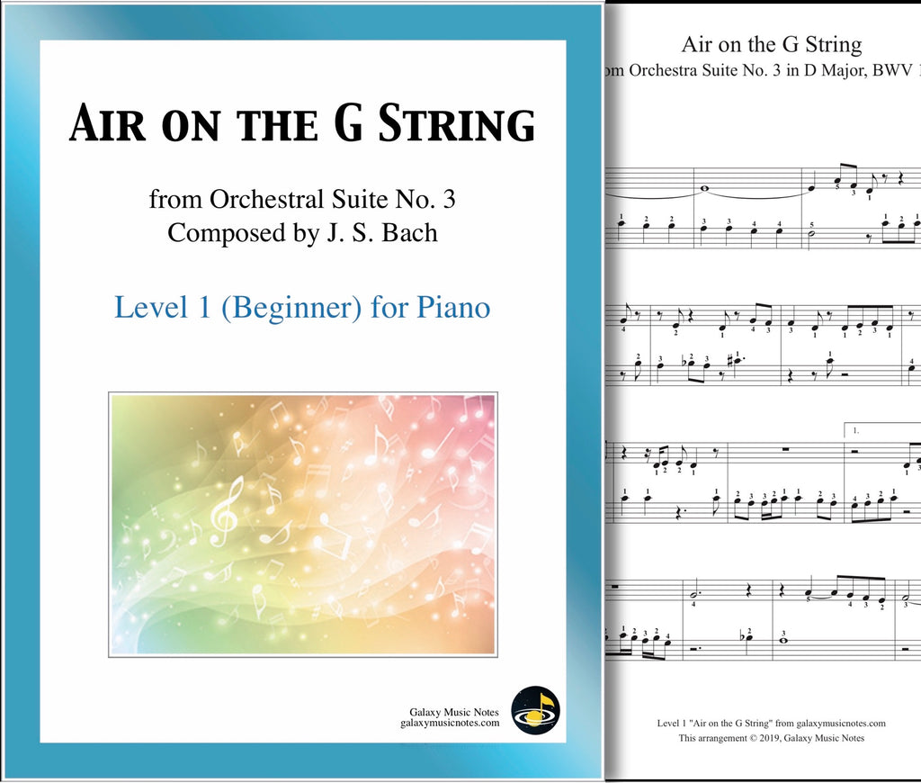 Air on the G String: Level 1 - 1st music page & cover