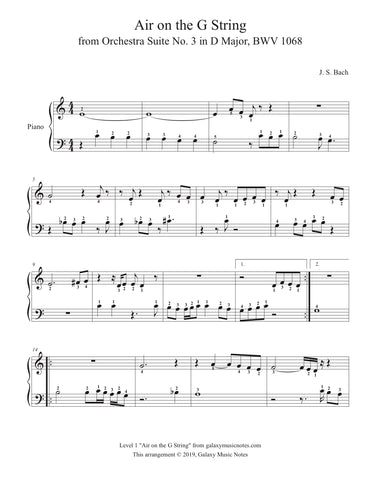 Air on the G String: Level 1 Piano sheet music - Page 1