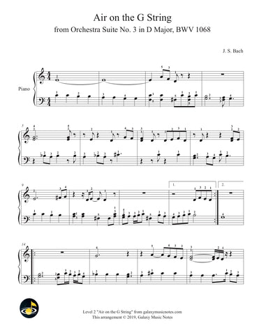 Air on the G String: Level 2 - Piano sheet music - page 1
