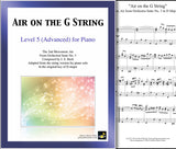 Air on the G String: Level 5 - 1st piano page & cover