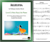 Alleluia by Mozart: Level 2 - Cover sheet & 1st page