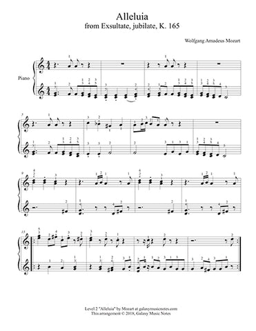 Alleluia by Mozart: Level 2 - 1st music page