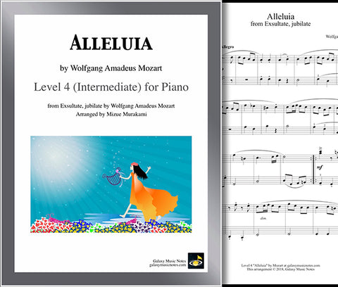 Alleluia by Mozart: Level 4 - Cover sheet & 1st page