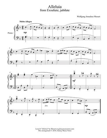 Alleluia by Mozart: Level 4 - 1st music page