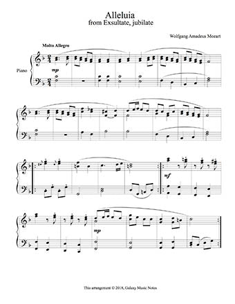 Alleluia by Mozart Level 5 - 1st piano music sheet