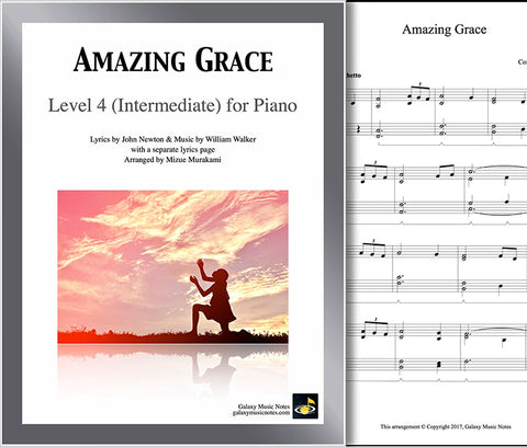 Coversheet of intermediate Amazing Grace piano sheet music