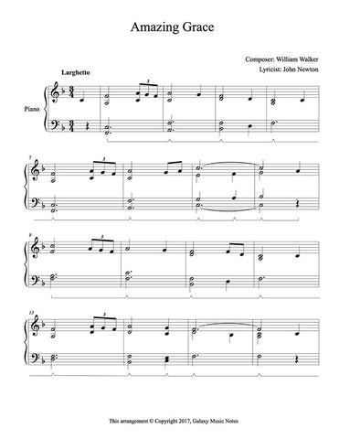 picture relating to Free Printable Piano Sheet Music for Amazing Grace named Incredible Grace