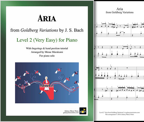 Aria from Goldberg Variations: Level 2 - Cover & 1st page