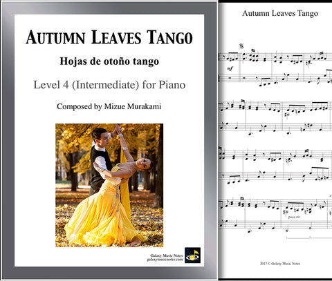 Autumn Leaves Tango: Level 4 1st piano page & cover