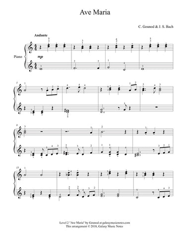 Ave Maria by Gounod: Level 2 - 1st music page