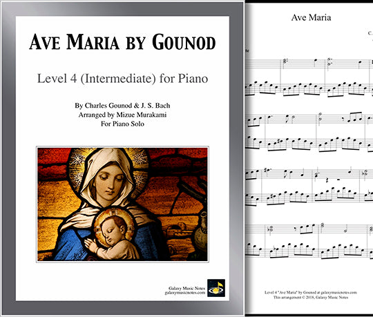 Ave Maria by Gounod: Level 4 - Cover sheet & 1st page