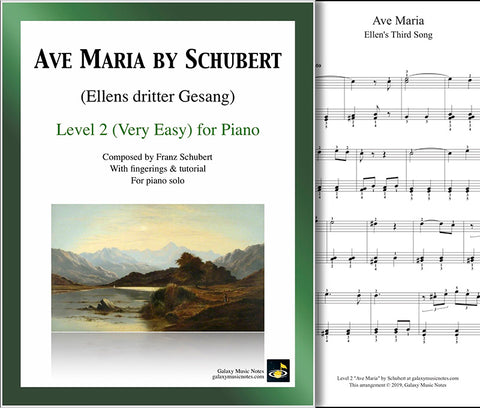 Ave Maria by Schubert: Level 2 - 1st piano sheet & cover