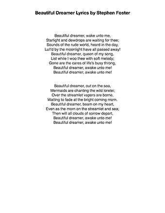 Beautiful Dreamer: Lyrics page