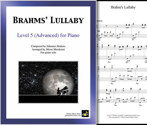 Brahms' Lullaby: Level 5 - Cover sheet & 1st page